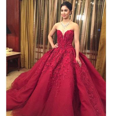Debut red black dress