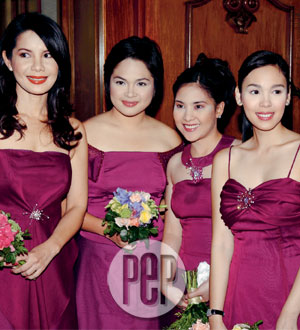 Of Honor Carmi Martin Lefmost With Bridesmaids Judy Ann Santos Janice Reyes And Claudine Barretto Helped Tremendously The Wedding Preparations