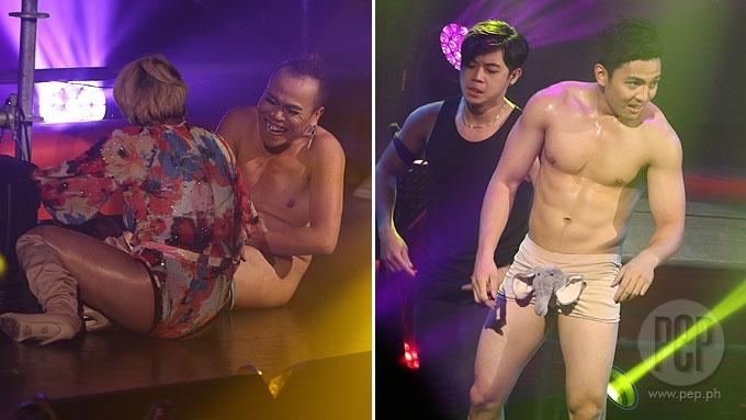 Boy strip down to underwear