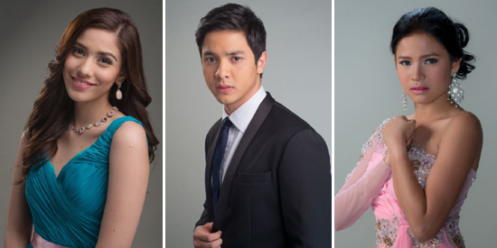 Mundo Mo'y Akin stars (L-R) Lauren Young, Alden Richards, and Louise