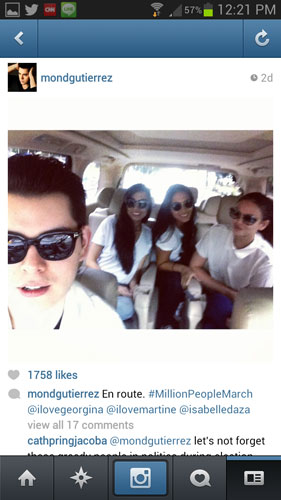 """Caption ni Raymond dito: """"En route. #millionPeopleMarch @"""