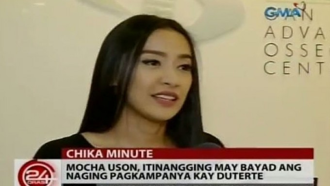 Mocha Uson received nothing for supporting Duterte