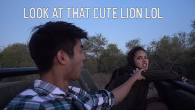 Mikael and Megan's face-to-face with a real-life lion