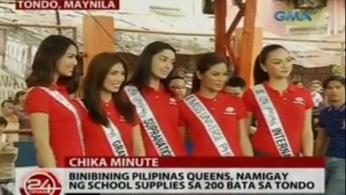 Beauty Queens distribute school supplies to kids in Tondo