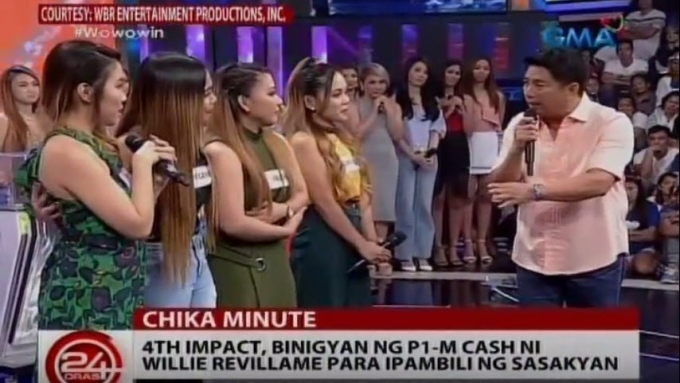 Willie gives girl group 4th Impact P1-M to buy new car