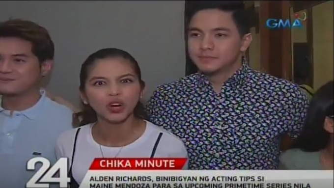 Alden Richards gives Maine Mendoza acting tips