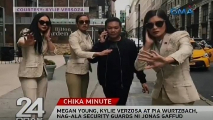 Megan, Kylie, Pia, as Jonas Gaffud's bodyguards