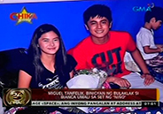 Miguel Tan Felix brings flowers for Bianca Umali on the set of <em&