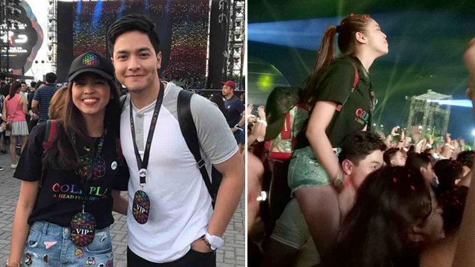 Alden carried Maine on his shoulders at Coldplay concert