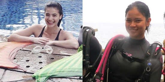 Anne Curtis and Louise delos Reyes training as mermaids