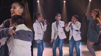 Ariana Grande surprises the TNT Boys in U.S. show