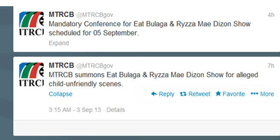 MTRCB summons 2 shows for