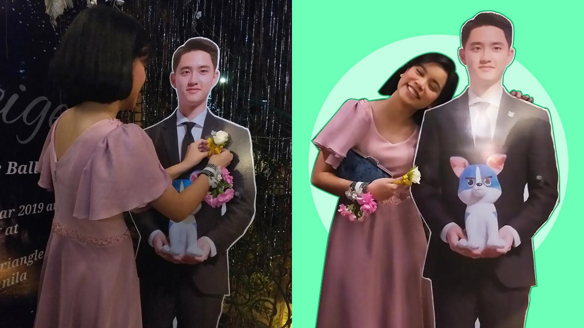 Pinay fan brings standee of EXO's D.O. as prom date
