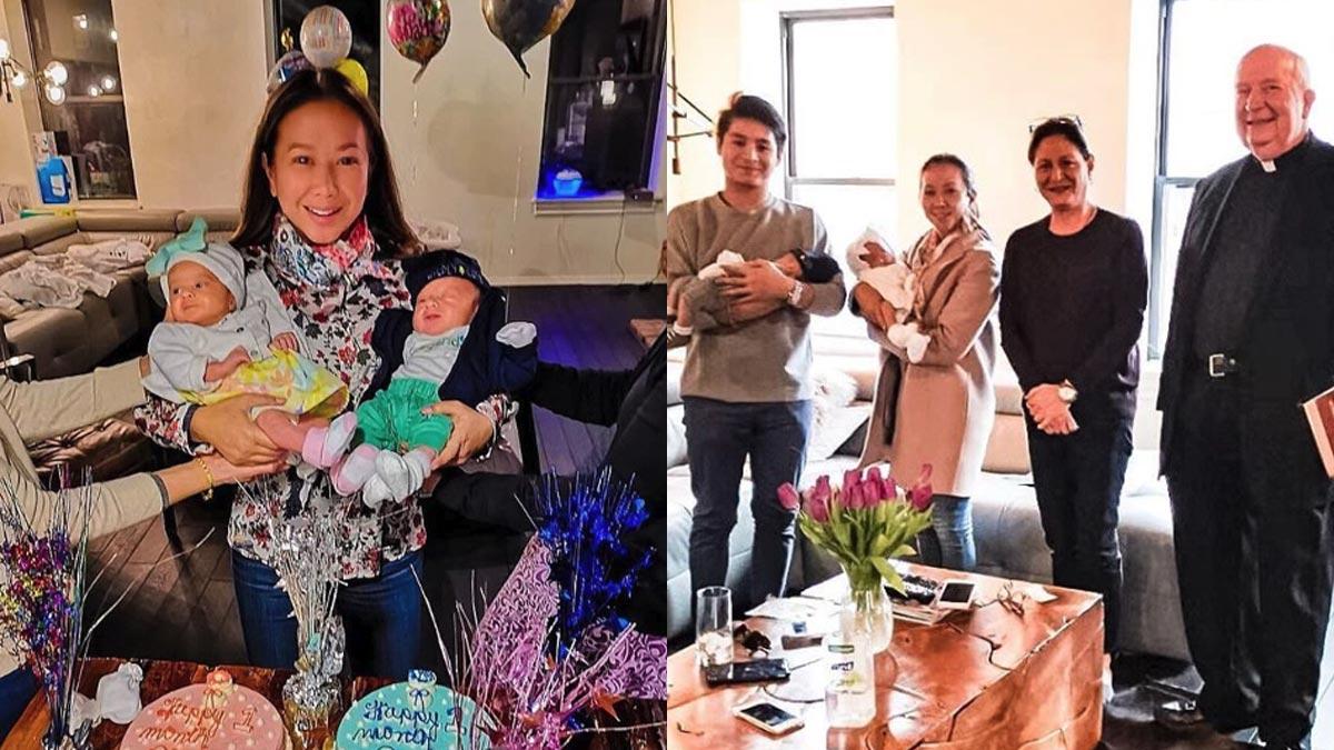 Korina Sanchez's twins Pepe and Pilar get blessed