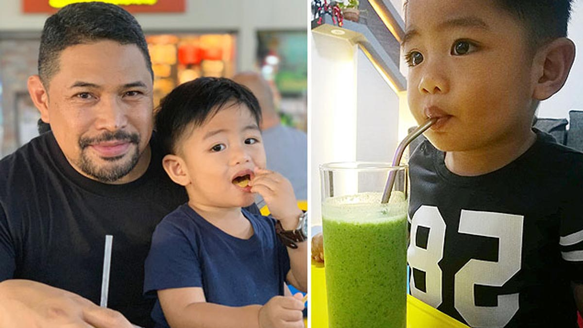 This toddler loves veggies, including ampalaya