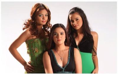 Sunshine Dizon with Lovi Poe and Yasmien Kurdi, who played her daughters in Bakekang.