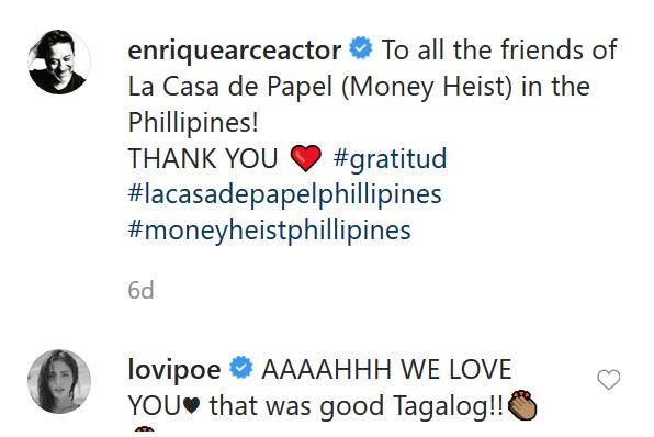 Enrique Arce and Lovi Poe Instagram conversation