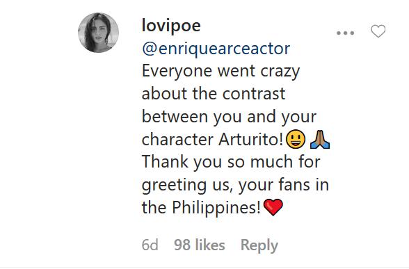 Lovi Poe comment on Enrique Arce Instagram comment wall.
