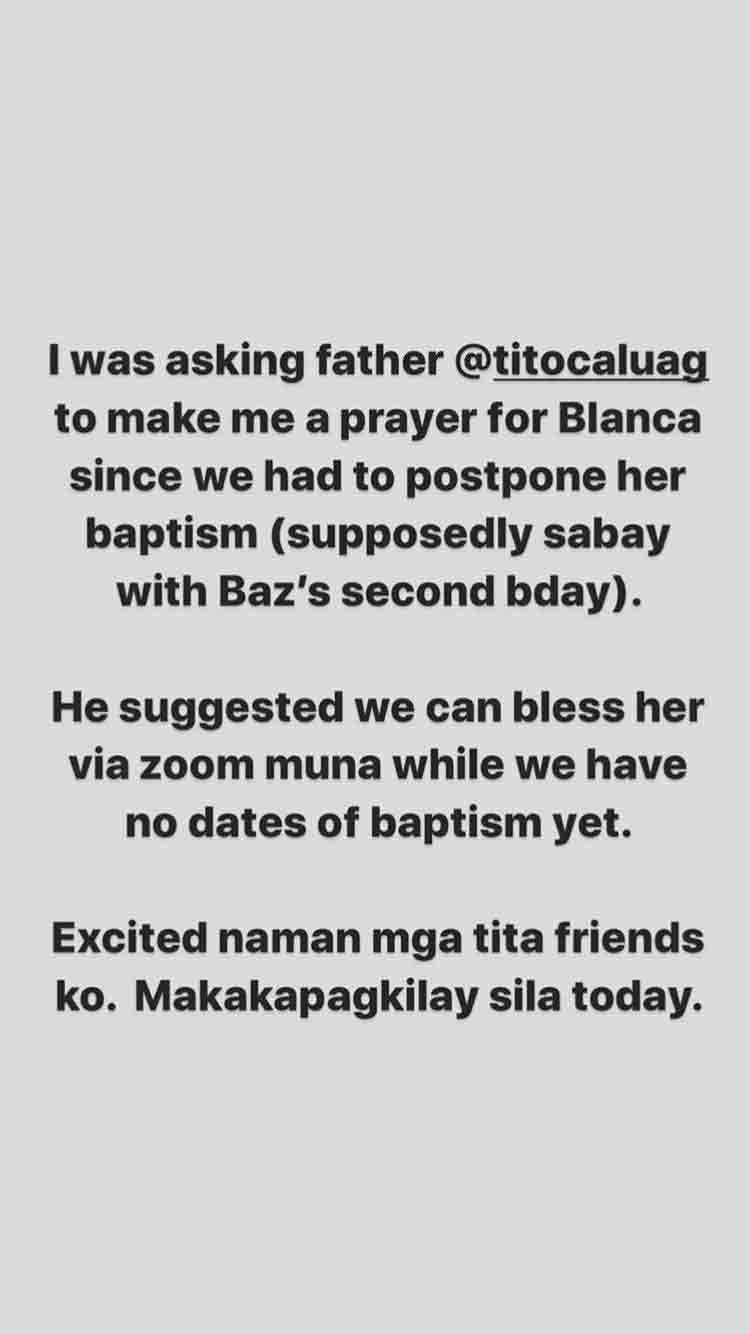 Divine Lee holds e-baptism for daughter Blanca Go