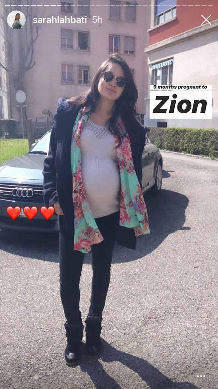 Sarah Lahbati nine months pregnant with Zion