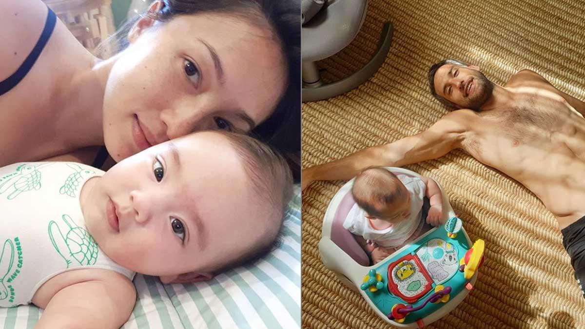 Solenn Heussaff with Thylane Katana. Nico Bolzico with Baby Thylane