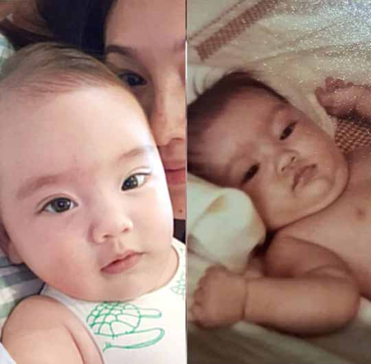 Solenn Heussaff as baby and her daughter Thylane