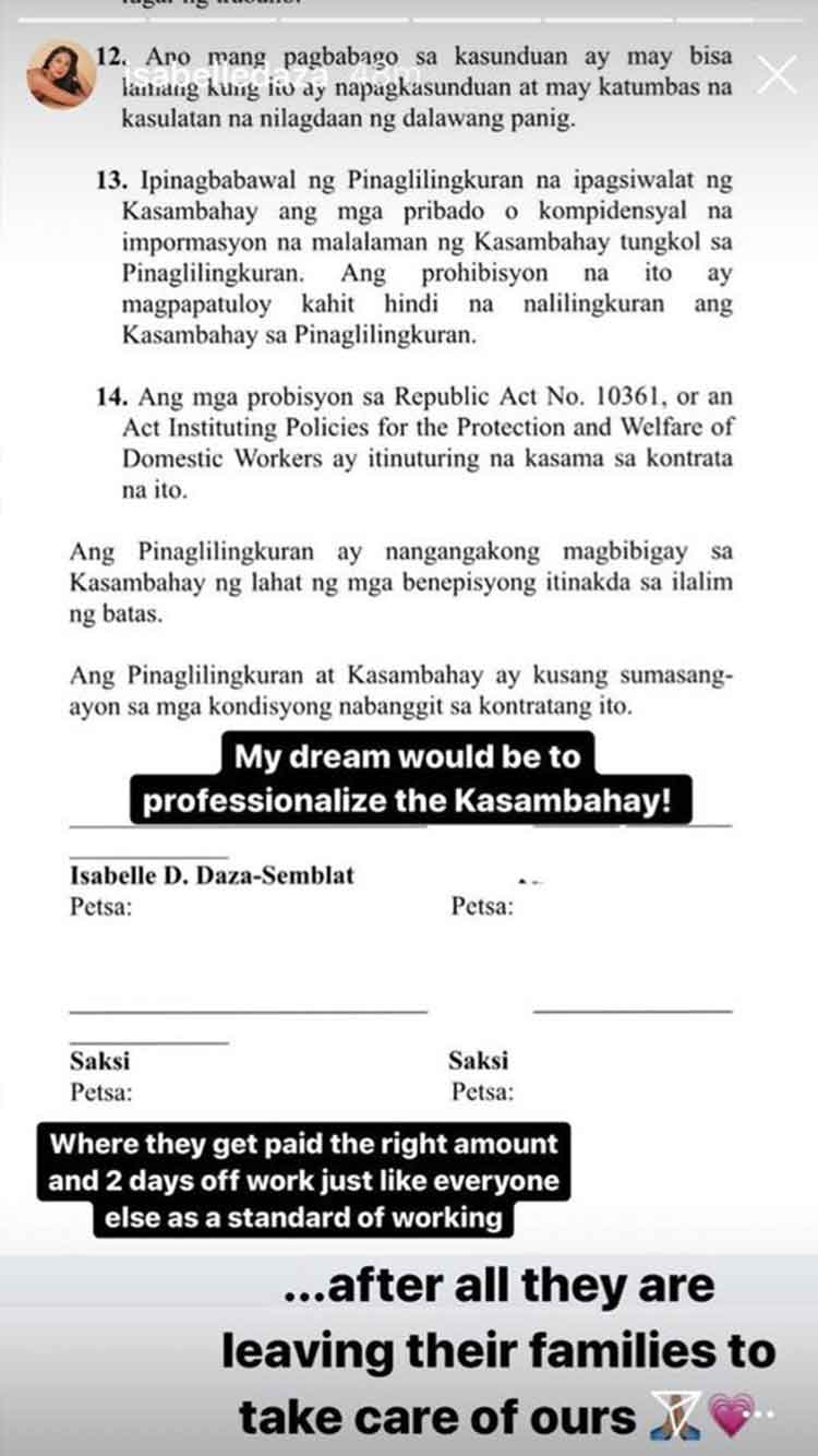 Isabelle Daza kasambahay contract