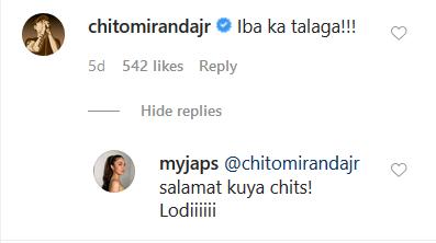 Chito Miranda, Julie Anne San Jose exchange on Instagram.