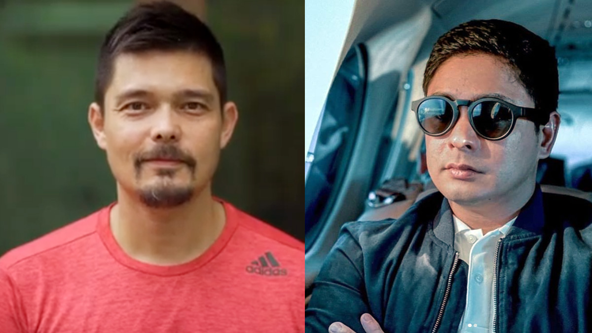 Dingdong Dantes in red shirt. Coco Martin in sunglasses and jacket.