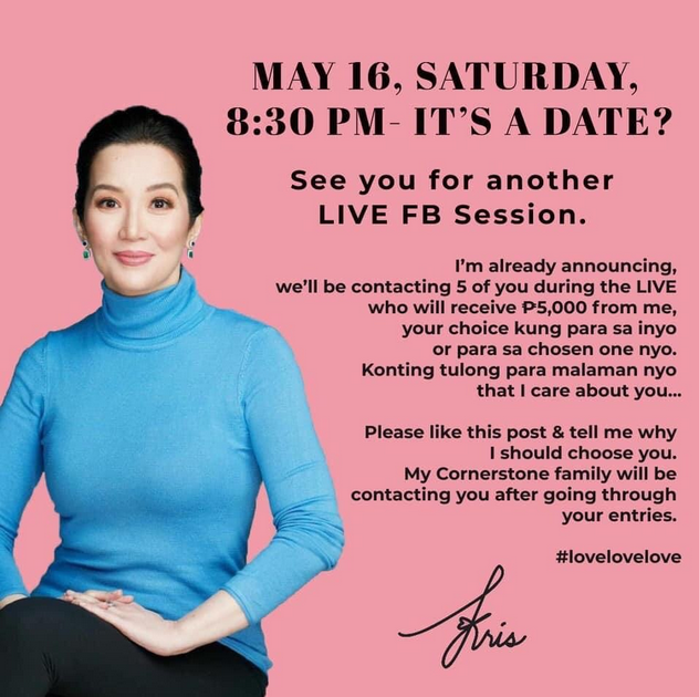 Kris Aquino facebook announcement