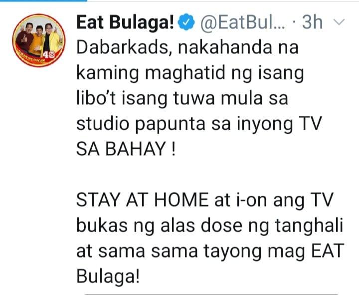 Eat Bulaga announcement