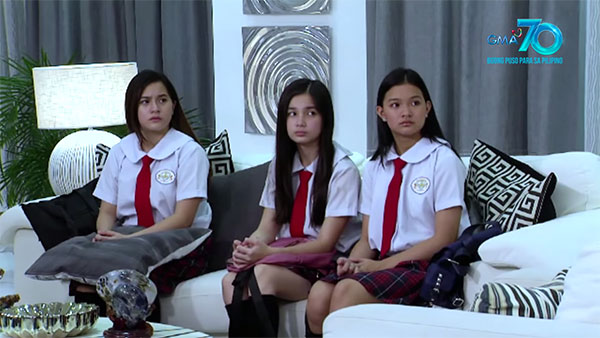 Mayi (Jillian Ward), Lenlen (Sofia Pablo), and Ella (Althea Ablan) look at Brianna (Elijah Alejo, not in photo) as she asks for forgiveness after what happened to Lenlen.
