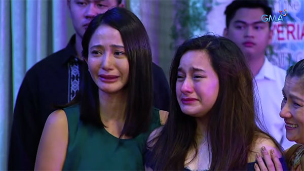 Lilian (Katrina Halili) and Mayi (Jillian Ward) become hopeful after finding out that the Donnas matched the DNA of Jaime Claveria (Wendell Ramos, not in photo).