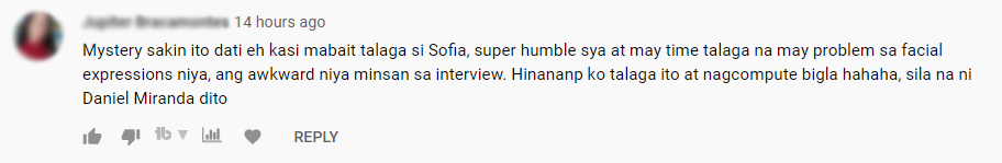 Sofia Andres YouTube comment