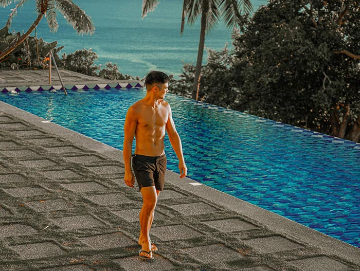 Piolo Pascual walking near his swmming pool in Batangas