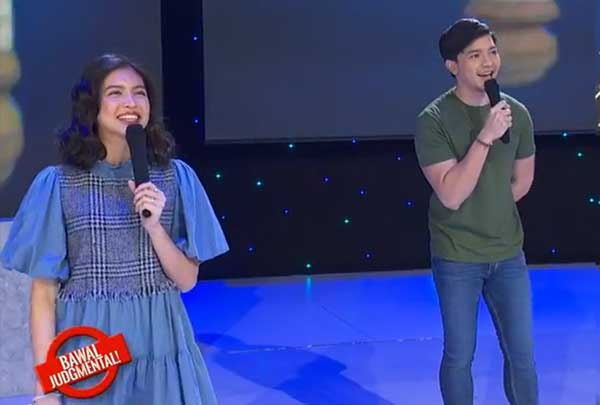 Alden Richards and Maine Mendoza on stage during Bawal Judgmental.