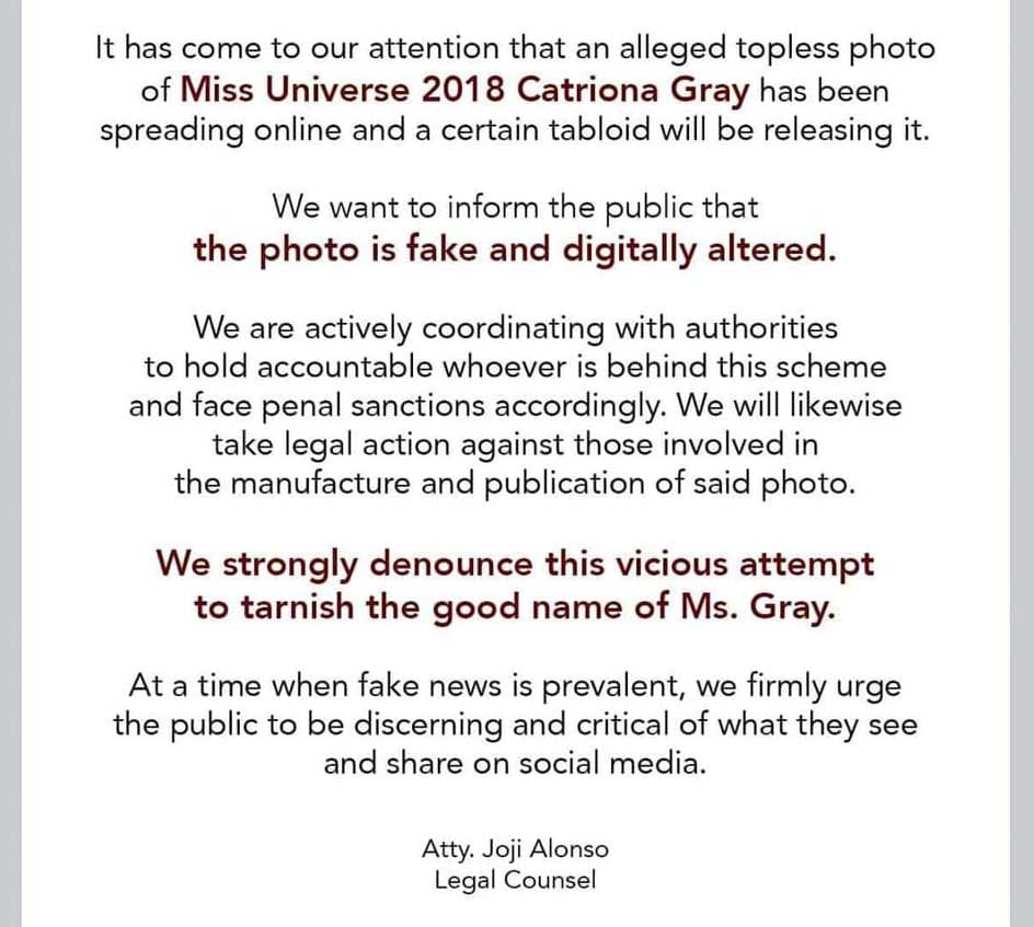 Atty. Joji Alonso letter re Catriona Gray fake photos