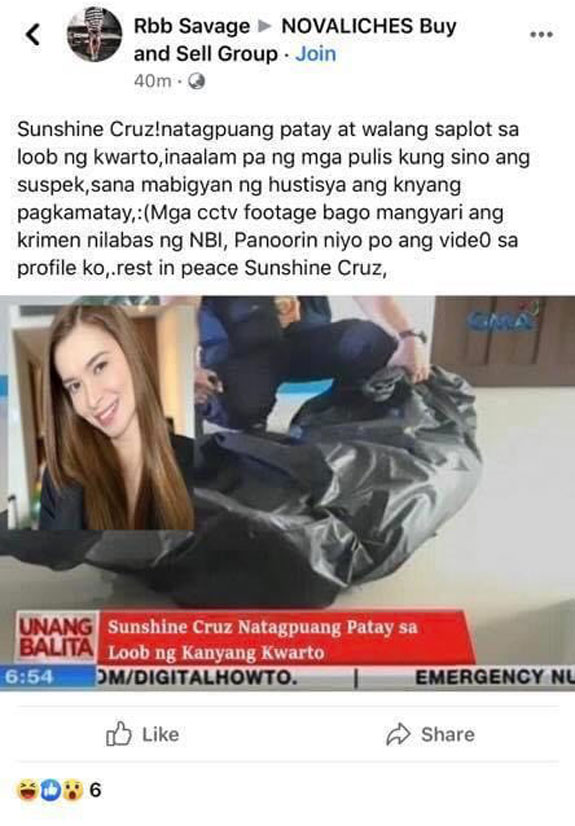 'Sunshine Cruz Natagpuang Patay?' - Actress Reacts to Death Hoax