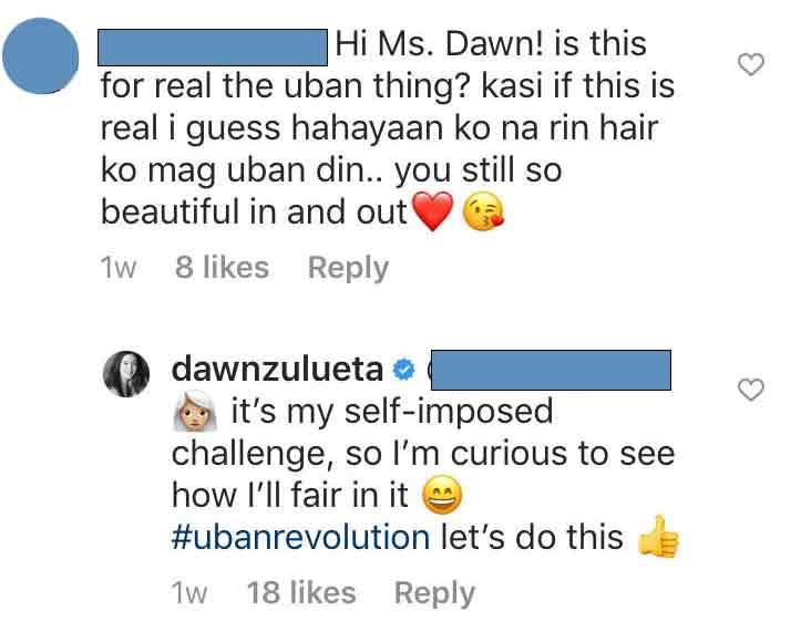Dawn zulueta qhite hair uban challenge