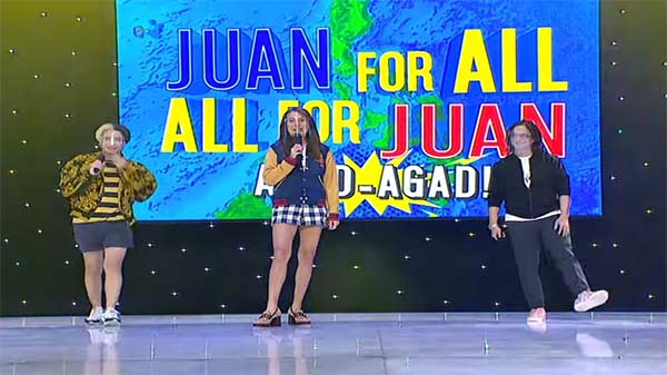 Paolo Ballesteros, Pia Guanio and Ryan Agoncillo host the new format of Juan For All, All For Juan.