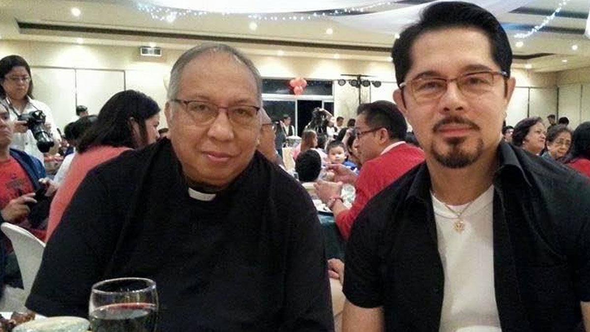 Father Sonny Ramirez with Christopher de Leon.