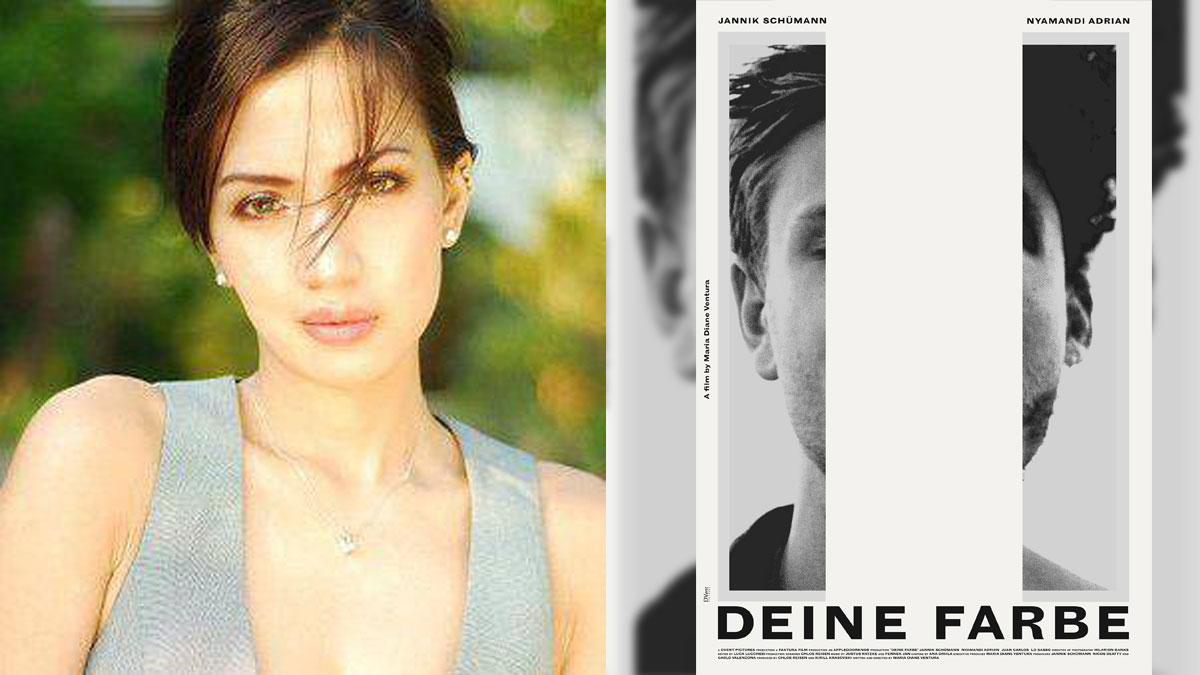 Maria Diane Ventura and poster of Deine Farbe.