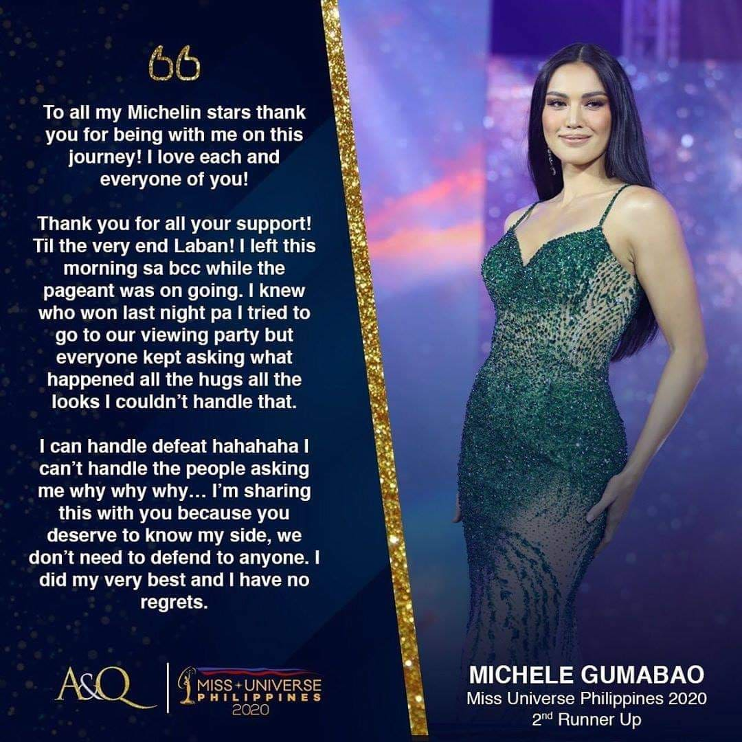 michele gumabao statement via aces & queens instagram.
