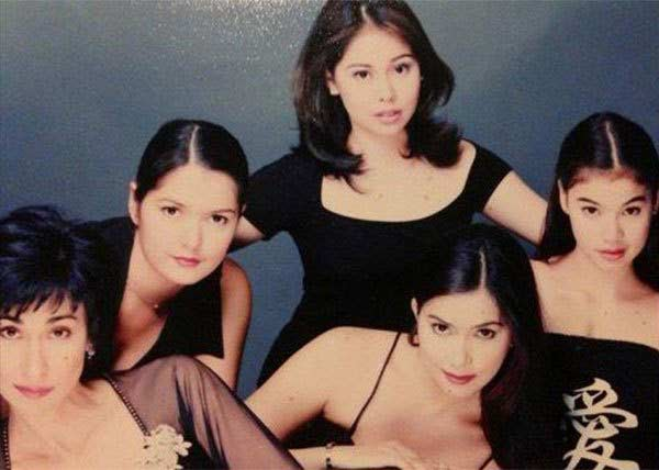 Angelu de Leon (middle) with Cherie Gil, Kim delos Santos, Dina Bonnevie, and Anne Curtis in VIVA TV's teleserye, May Bukas Pa.