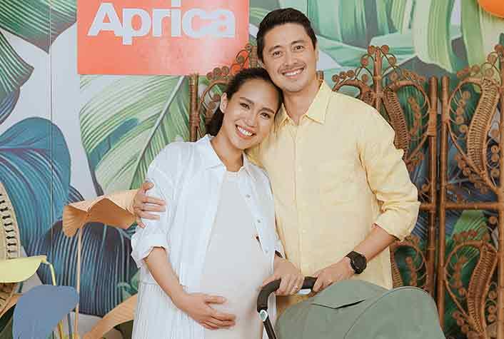 Pregnant Aicelle Santos with husband Mark Zambrano