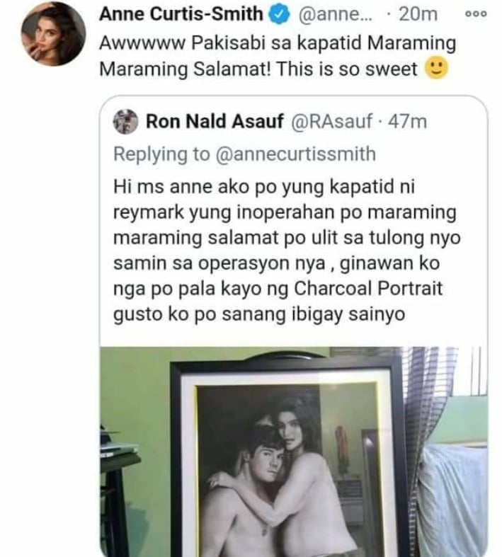 Anne Curtis replies to tweet of person she helped.
