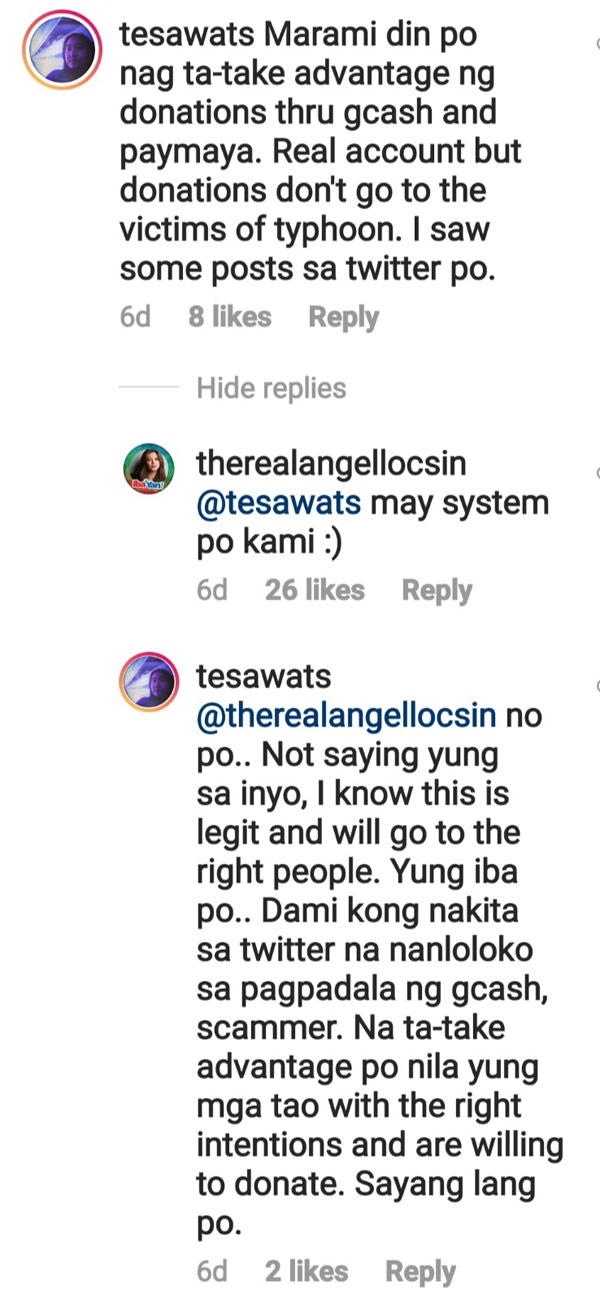 Angel Locsin netizen financial assistance