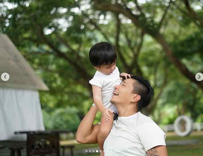 Drew Arellano and his son Leon Arellano