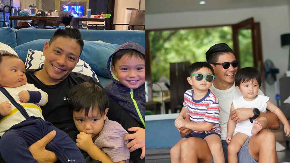 Drew Arellano and his kids: daughter Alana, sons Leon and Primo