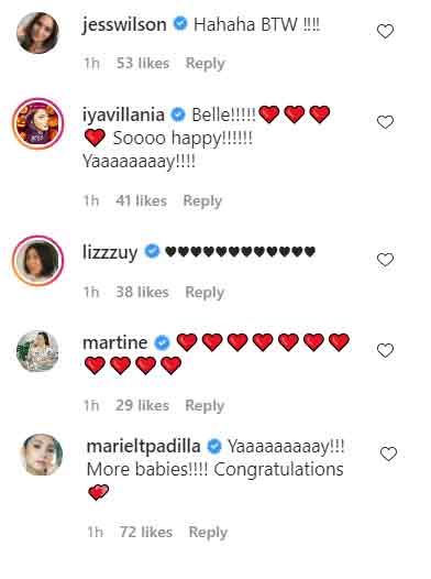 Family and friends congratulate Isabelle Daza on her second pregnancy